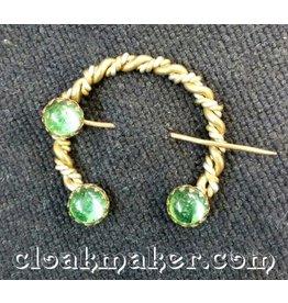Seafoam Green Round Glass Penannular, Small