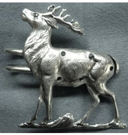 Stag, Single with D-Ring Cloak Clasp - Silver Tone Plated