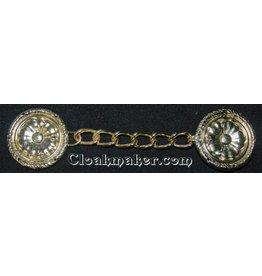 Tudor Rope Edge and Chain Cloak Clasp - Gold Tone Plated