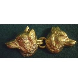 Wolf Heads with Hook & Eye Cloak Clasp - Jewlers Bronze