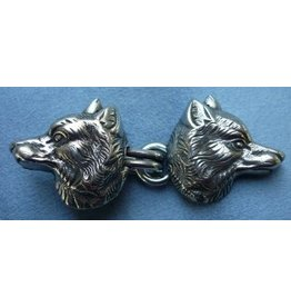 Wolf Heads with Hook & Eye Cloak Clasp - Silver Tone Plated