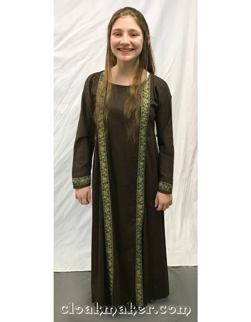 060e61adba12 G936 - Brown Cotton Long Sleeve Byzantine Gown with Gold and Green Cross  Trim - Youth ...