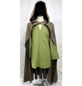 3719 - Heathered Grey Brown Wool Half Circle Hobbit Cloak w/Dark Brown  Hood Lining