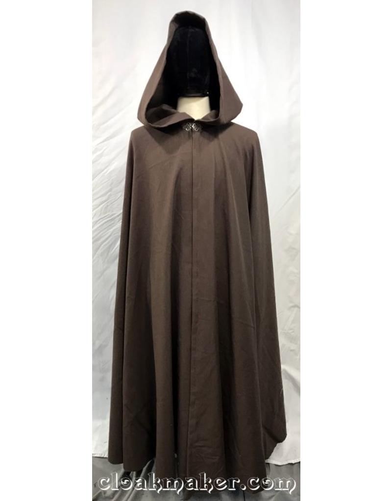 77935caff4 3752 - Medium Brown 100% Wool Full Circle Cloak with Long Liripipe Hood ...
