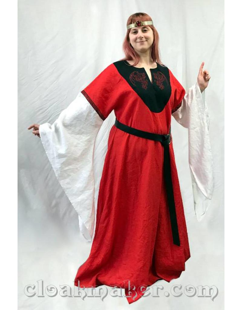 5227c5f0ac1992 ... Celtic G971 - Red Linen Gown Dress with White Drapey Sleeves, Red  Dragon Embroidery, ...