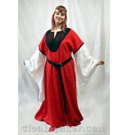 Cloak and Dagger Creations G971 - Red Linen Gown Dress with White Drapey Sleeves, Red Dragon Embroidery, Celtic Knotwork Trim and Black Applique