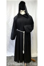 97e9006a59 R432 - Black Wool Monk Robe with Attached Cowl and White Rope Belt
