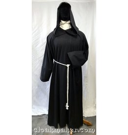 R432 - Black Wool Monk Robe with Attached Cowl and White Rope Belt
