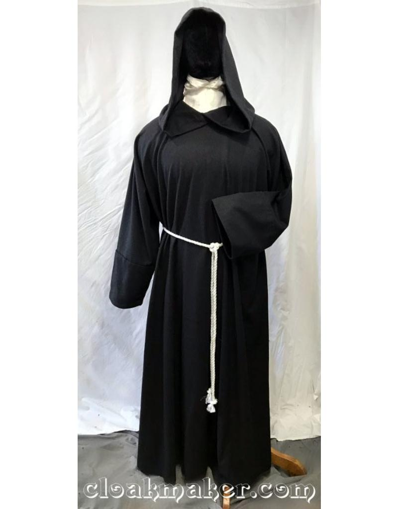 2a05c189c9 R432 - Black Wool Monk Robe with Attached Cowl and White Rope Belt ...