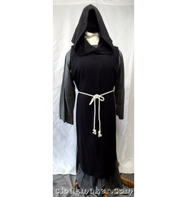 R434 - Black Wool Monk Tabard with Pointy Hood