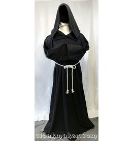 R435 - Black Wool Monk Robe with Attached Cowl and White Rope Belt