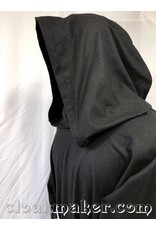 70ec96dfcc R435 - Black Wool Monk Robe with Attached Cowl and White Rope Belt