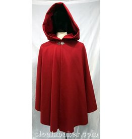 3767 - Crimson Red Wool Shaped Shoulder Ruana Cloak with Red Velveteen Hood Lining
