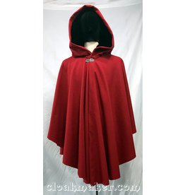 3762 - Crimson Red Wool Ruana Cloak with Black Velvet Hood Lining