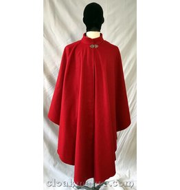 3758 - Crimson Red Wool Ruana Hoodless Cloak