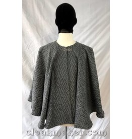 Cloak and Dagger Creations 3759 - Black and White Chevron Wool Hoodless Cloak