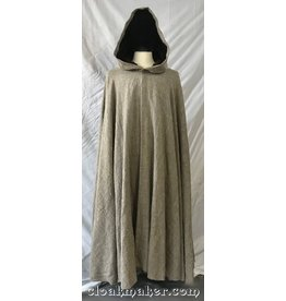 3770 - Rustic Heathered Brown Linen Full Circle Cloak with Brown Velvet Hood Lining