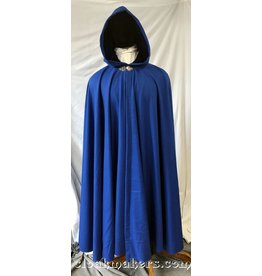 3780 - Cobalt Blue Wool Full Circle Coak with Royal Blue Velvet Hood Lining