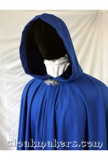 3780 - Cobalt Blue Wool Full Circle Coak with Royal Blue Velvet Hood Lining