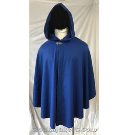 3783 - Cobalt Blue Wool Shaped Shoulder Ruana Cloak with Cobalt Blue Velveteen Hood Lining