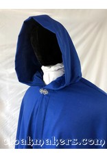 3787 - Cobalt Blue Wool Shaped Shoulder Ruana Cloak with Cobalt Blue Velveteen Hood Lining