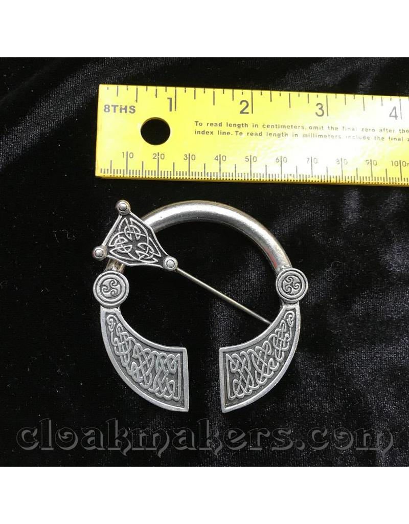 Cloak and Dagger Creations Pewter Squared End Celtic Penannular Brooch, Large