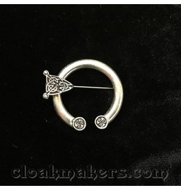 Pewter Round End Celtic Knot Penannular Brooch, Small