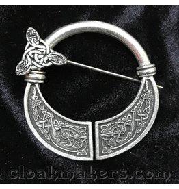 Pewter Celtic Hounds Penannular Brooch, Large