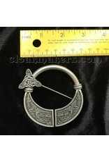 Cloak and Dagger Creations Pewter Celtic Hounds Penannular Brooch, Large
