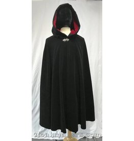3788 – Black Cotton Moleskin Shaped Shoulder Cloak with Red Velveteen Hood Lining