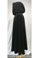 3788 – Black Cotton Moleskin Shaped Shoulder Cloak with Red Velveteen Hood Lining