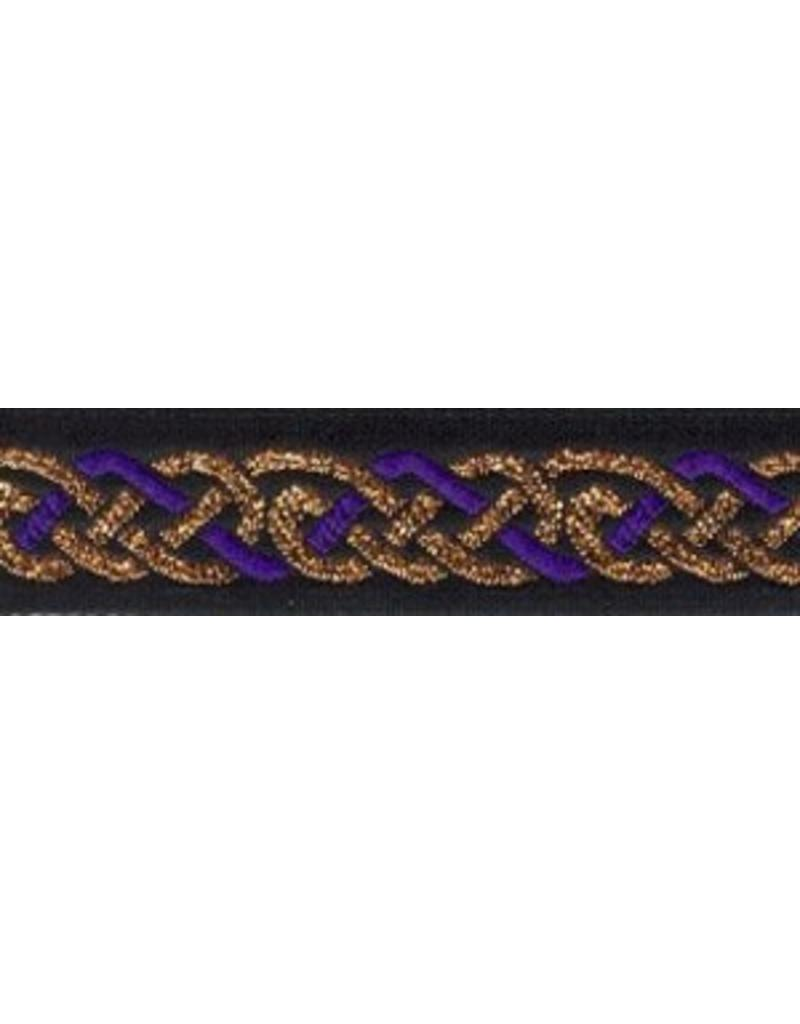 Cloak and Dagger Creations Celtic Knot Trim, Purple/Copper on Black