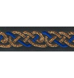 Cloak and Dagger Creations Celtic Knot Trim, Blue/Gold on Black - DISCONTINUED