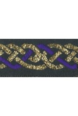 Cloak and Dagger Creations Celtic Knot Trim, Purple/Gold on Black - DISCONTINUED