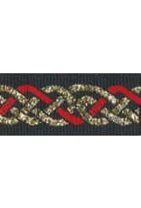 Cloak and Dagger Creations Celtic Knot Trim, Red/Gold on Black