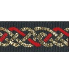 Celtic Knot Trim, Red/Gold on Black