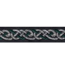 Cloak and Dagger Creations Celtic Knot Trim, Green/Silver on Black