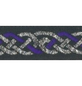 Celtic Knot Trim, Purple/Silver on Black
