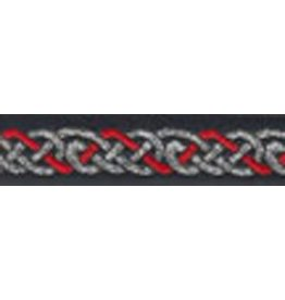 Celtic Knot Trim, Red/Silver on Black