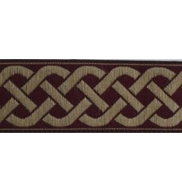 3 Strand Celtic Braid Trim, Tan on Burgundy - Medium
