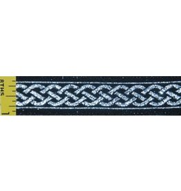 3 Strand Celtic Braid Trim, Silver on Black - Narrow