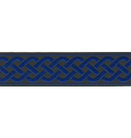 3 Strand Celtic Braid Trim, Blue on Black - Medium