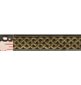 3 Strand Celtic Braid Trim, Gold on Black - Medum