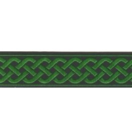 3 Strand Celtic Braid Trim, Green on Black - Medum