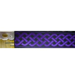 3 Strand Celtic Braid Trim, Purple on Black - Medum