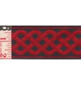 3 Strand Celtic Braid Trim, Red on Black - Medum
