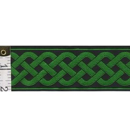 3 Strand Celtic Braid Trim, Green on Black - Wide