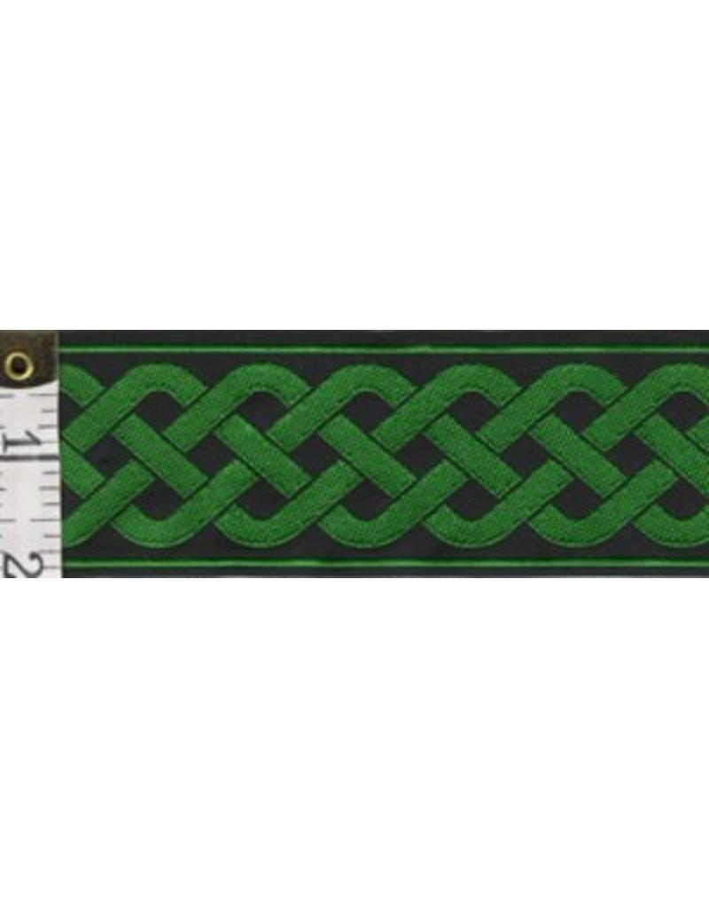 3 Strand Celtic Braid Trim, Green on Black - Wide