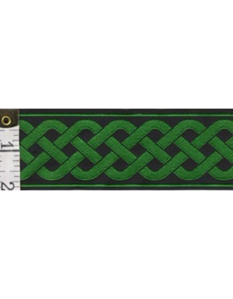 Cloak and Dagger Creations 3 Strand Celtic Braid Trim, Green on Black - Wide