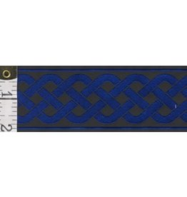 Cloak and Dagger Creations 3 Strand Celtic Braid Trim, Blue on Black - Wide